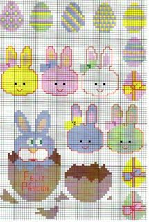 Easter Eggs and Bunnies! Cross Stitching, Cross Stitch Embroidery, Embroidery Patterns, Quilt Patterns, Plastic Canvas Crafts, Plastic Canvas Patterns, Cross Stitch Designs, Cross Stitch Patterns, Easter Cross