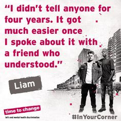 Liam's friend was in his corner and helped him come to terms with his #anxiety and #depression. Read his story. #InYourCorner