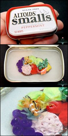 Altoids Small Tin - Coral Reef by PepperTreeArt on DeviantArt Polymer Clay Miniatures, Polymer Clay Projects, Diy Clay, Resin Crafts, Clay Fish, Felt Fish, Minis, Small Tins, Altered Tins