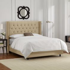 Skyline Furniture Tufted Upholstered Wingback Panel Bed & Reviews | Wayfair
