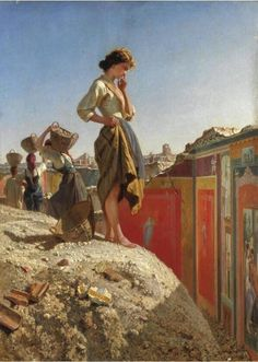Filippo Palazzi- Gli scavi di Pompei (Pompeii digging) The opening of the Pompeii digging,after One of those beautiful ancient paintings captures the girl attention. Romantic Paintings, Classic Paintings, Old Paintings, Beautiful Paintings, European Paintings, Italian Painters, Italian Artist, Pompeii, Art And Illustration