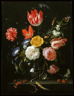 Jan Davidsz. de Heem's Glass Vase with Flowers on a Stone Ledge