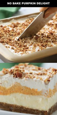 Instead of pumpkin pie, try this easy pumpkin delight recipe instead! A homemade pecan and graham cracker mix forms a delicious crust that is topped with three layers of light and fluffy filling -- including cream cheese, pumpkin, pudding and Cool Whip. Pumpkin Delight Dessert Recipe, No Bake Pumpkin Cheesecake, Pumpkin Dessert, Cheesecake Recipes, Homemade Desserts, Köstliche Desserts, Delicious Desserts, Dessert Recipes, Baked Pumpkin