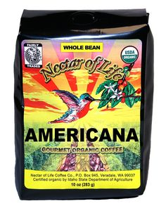 Nectar of Life - AMERICANA - Gourmet, Organic Whole Bean Coffee - 100% Organic and Fair Trade - Medium Roast - 10oz Bag ** Remarkable product available now. : Fresh Groceries