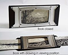 Parker Williams, Traveler, 5 x 11 x 1 inches closed, Digital print of original scroll ink drawing, 15 panels 3.5 x 157.5 total length, wood, and aluminum bound with black tyvek, Edition of 5