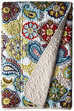 Mi Zone - Tamil Quilted Super Warm Throw With Cotton Filling - Green, Blue & Red - x - Paisley Paisley Quilt, Paisley Pattern, Tahari Bedding, Quilted Throw Blanket, Throw Blankets, Home Decor Vases, Thing 1, Bed Covers, Comforter Sets