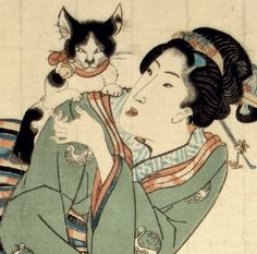 detail of cat from Standing bijin (and her cat). Woodcut print, late 1830s. Utagawa Kunisada