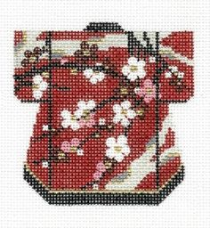 LEE Cherry Floral Oriental Petite Kimono handpainted Needlepoint Canvas
