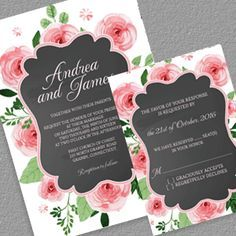 Free PDF - Chalkboard and Rose Frame Invitation and RSVP - free to download, easy to edit and print at home, for DIY brides.