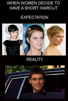 expectations vs. reality, funny photos, short hair cut, women, emma watson