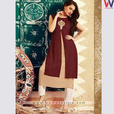 Elegant Brown Colour Kurti#womansvilla
