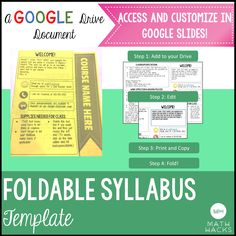 Awesome Editable Syllabus    1 Page, 1 Fold! Perfect For Secondary Teachers Who Want