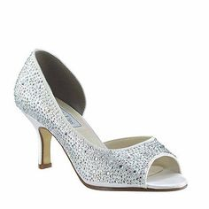 #Priceabate Touch Ups White Satin Dyeable Greta Peep Toe Evening Bridal or Formal Heels   - Buy This Item Now For Only: $132.95