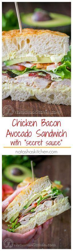 "Chicken Bacon Avocado Sandwich with ""secret sauce"" - A Kneaders Bakery Copycat Recipe   http://NatashasKitchen.com"
