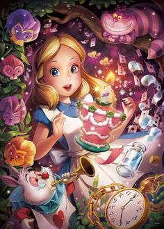 Tenyo Disney Alice in Wonderland Sparkling Dream Tenyo Disney Japan Jigsaw Puzzle Origin : Japan (Made in Japan) Piece : 500 pcs Finished Size : 35 x 49 cm Remarks : Glow in the Dark Disney Princess Pictures, Disney Princess Drawings, Disney Pictures, Disney Drawings, Disney Princess Tattoo, Alice In Wonderland Background, Alice And Wonderland Quotes, Alice In Wonderland Party, Alice In Wonderland Cartoon