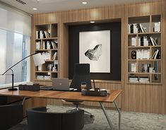 Male Office Decor, Office Furniture Design, Office Interior Design, Office Interiors, Interior Ideas, Modern Home Offices, Small Office Design, Decoration, Study