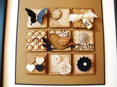 two step bird sits on the center block of an inchie collage block. Stampin' Up! Paper Art, Paper Crafts, Diy Crafts, Collages, Inchies, Stampin Up Anleitung, Scrapbooking, Scrapbook Rooms, Scrapbook Cards