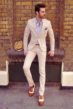 Slim Fit Beige Suit & Brown Spectators