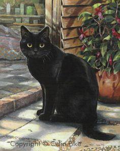 Pintura del gato negro.  Celia Pike Jolson