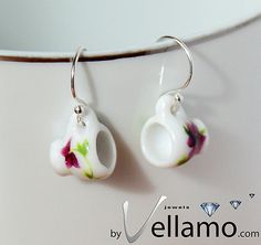 Delicate sterling silver earrings white with flowers by byVellamo, $15.00