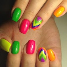 Arrow nails, Beach nails, Beautiful nail colors, Bright gel polish, Bright gel…