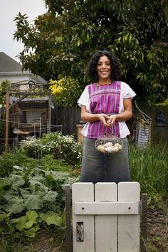 Esperanza Pallana, seen in her Oakland, Calif., backyard on Friday, June 3, 2011, is an urban homesteader.