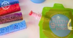 Transform Little Green Pouches into refillable paint brushes for a low mes art alternative for kids.