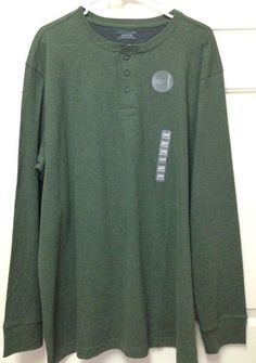 Men's Henley Shirt Long Sleeve Crew Neck Dark Green XL Covington 100% Cotton NWT #Covington #Henley