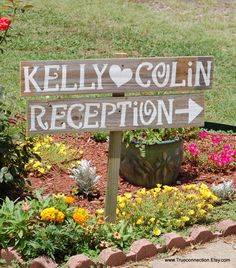 Reception Sign With Names, Outdoor Wedding Signage Pinterest Hand Painted Reclaimed Wood. Rustic Weddings. Vintage Weddings Road Signs Barn by TRUECONNECTION on Etsy https://www.etsy.com/listing/193343624/reception-sign-with-names-outdoor