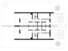Two-family house - Ground plan of the floor Double House, Creative Home, Home Projects, Townhouse, Home Goods, House Plans, Floor Plans, House Design, How To Plan