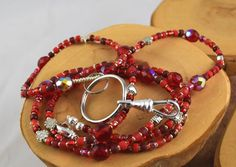 Cherry Bomb Red handcrafted beaded lanyard perfect by OklahomaMama