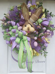 A personal favorite from my Etsy shop https://www.etsy.com/listing/513685885/easter-wreath-easter-bunny-wreath-front