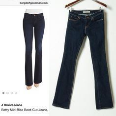 J Brand Betty Bootcut Dark Wash Denim Like new. These jeans are pristine! Skinny mid rise bootcut, perfect for rolling up or wearing with a heel. 98% cotton, 2% spandex. J Brand Jeans Boot Cut