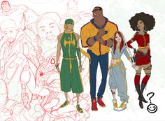 Heroes for Hire: Danny Rand, Luke Cage, Colleen Wing, and Misty Knight by Sanford Greene Character Design Challenge, Female Character Design, Character Design References, Character Concept, Character Art, Concept Art, Dress Anime, Animation, Fantasy