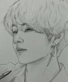 Kpop Drawings, Pencil Art Drawings, Art Drawings Sketches, Dessin Animé Lolirock, Taehyung Fanart, Bts Taehyung, Drawing Eyes, Drawing Art, Fan Art