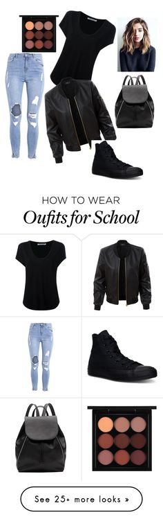 """Back to school outfit"" by rachel-annelee on Polyvore featuring Alexander Wang, LE3NO, Converse, MAC Cosmetics and Witchery"