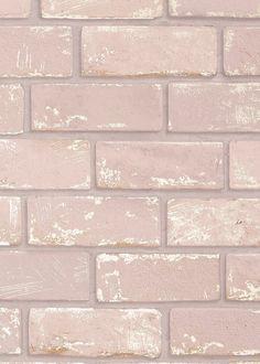 Arthouse Pink & Rose Gold Metallic Brick Wallpaper (10.05m x 53cm) – Pink