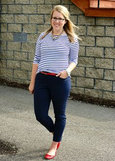 Jeans, blue and white striped shirt, red shoes Red Flats Outfit, Ankle Pants Outfit, Blue Pants Outfit, Red Shoes, Navy Pants, White Pants, Casual Work Outfits, Business Casual Outfits, Work Attire