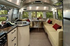Inside an airstream. Warm, yet cool. I like it, but we need leather cushions because of the dogs.