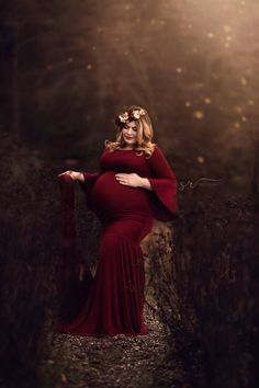 Chicaboo {Juliet} Bell Sleeve Gown With Extended Train- Merlot (Suggested Size: Juliet maternity gown is made from a soft fitted jersey. Double lined in the chest, with bell sleeves with an extended train!