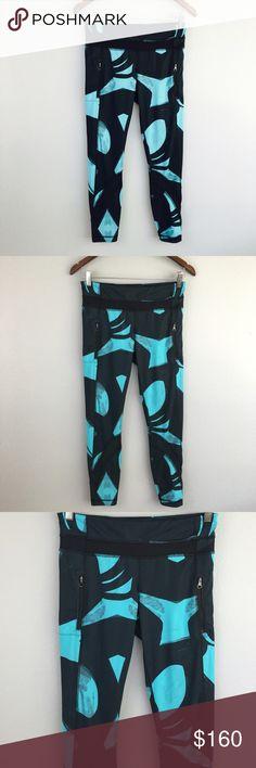 Lululemon Aqua & Navy Blue Print Zipper Pants! Size 6! lululemon athletica Pants Leggings