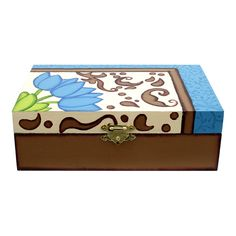 Proyectos |Caja con flores pintadas Wooden Box Crafts, Painted Wooden Boxes, Diy Bench, Decoupage Paper, Diy Canvas, Painting On Wood, Stencil, Decorative Boxes, Projects To Try