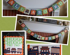 Train Birthday Party Package Happy Birthday Banner by GiggleBees