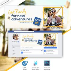 The internet has plenty of banner design inspiration, but the truth is you do not . tips, posts & resources on anything about style: print, logo, we. Facebook Cover Design, Facebook Cover Template, Facebook Timeline Covers, Banner Design Inspiration, Web Banner Design, Web Banners, Instagram Banner, Social Media Banner, Adventure Travel