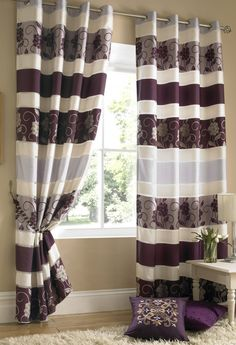 Yarm Purple Lined Eyelet Curtains Purple Line, Color Palettes, Fabrics, Dining Room, Lounge, Curtains, Bedroom, Home Decor, Houses