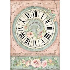 Stamperia - Decoupage Rice Paper - House of Roses Collection - Clock Paper Clock, Rice Paper Decoupage, Decoupage Glue, Decoupage Vintage, Papel Scrapbook, Arts And Crafts, Paper Crafts, Paper Tree, Home And Deco