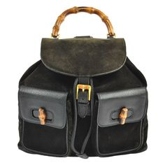 273c754af8e Auth GUCCI Bamboo Backpack Hand Bag Black Suede Leather Vintage Italy  W23724A  Gucci  BackpackStyle
