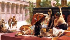 This is a portrayal of Cleopatra during the time when Octavian was using political propaganda to discredit her, as the seductive temptress who tested poison on her slaves. This piece was created around that time.