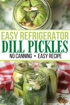 This Easy Homemade Refrigerator Dill Pickles recipe packs a lot of crunch and zesty flavor. There is no canning involved in this easy refrigerator pickle recipe. This recipe is a great way to use those cucumbers you just picked from your garden or bought at your farmers' market. These refrigerator pickles are cucumbers that are pickled in a homemade brine with garlic, dill and spices. Pickles Recipe, Homemade Pickles, Easy Dinner Recipes, Snack Recipes, Dill Recipes, Delicious Recipes, Breakfast Recipes, Recipies, Tasty