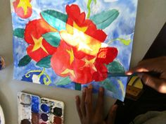 Van Gogh Impasto, students paint a floral still life using watercolor. Then students apply a mixture of acrylic paint and flour over the flowers petals to create an impasto effect.